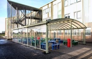 Canopy we designed for Our Lady's RC High School in Manchester