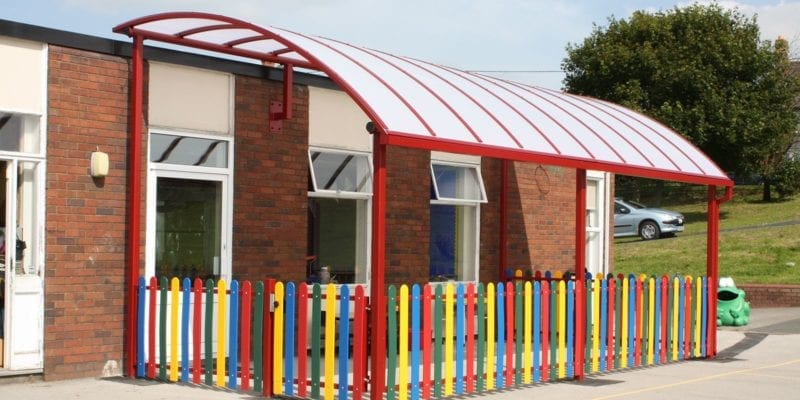 Red Curved Roof Canopy