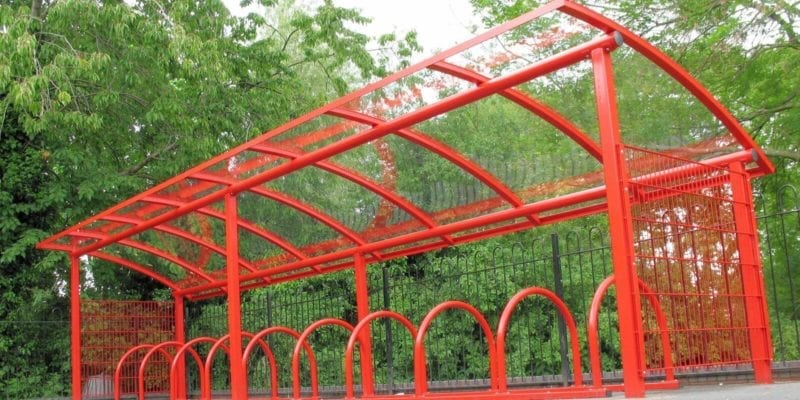 Red Curved Roof Cycle Shelter