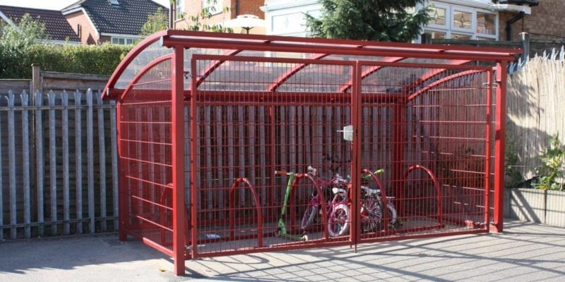 Red Enclosed Bike Shelter