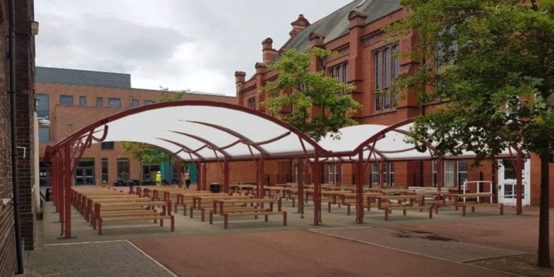 Red Fabric Curved Roof Canopies