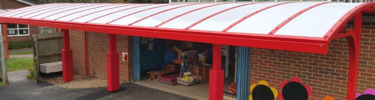 Shelter we installed at Shelton Infants School
