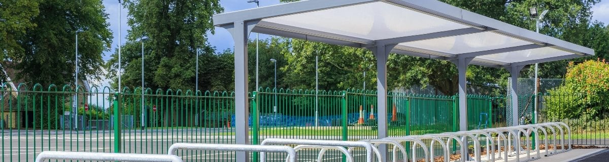Cycle shelter we added to Simon Balle All-Through School