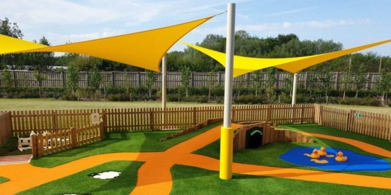 Sail shade we installed at Sprouts Play Barn