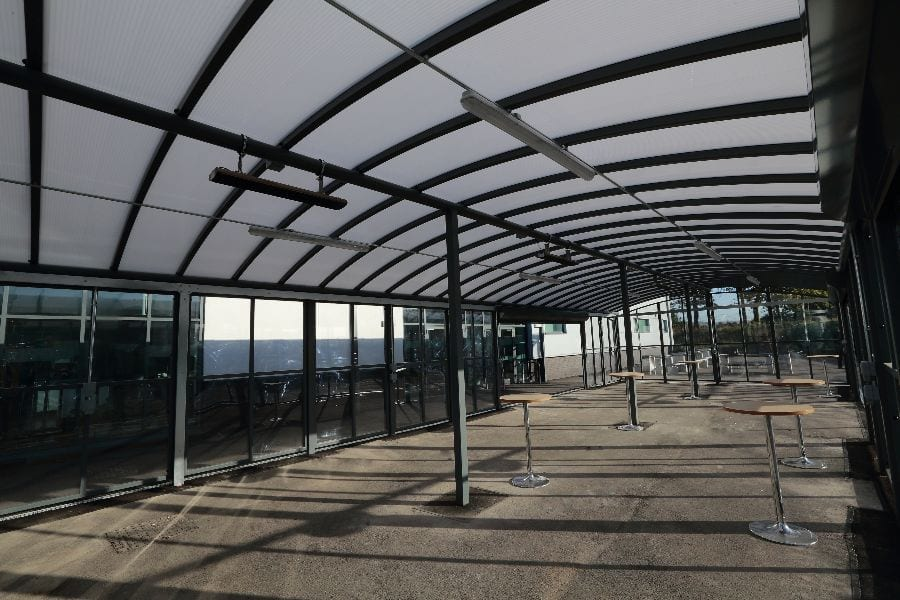 Enclosed canopy we designed for St Cuthbert's School