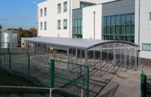 Canopy we designed for St Cuthbert's School