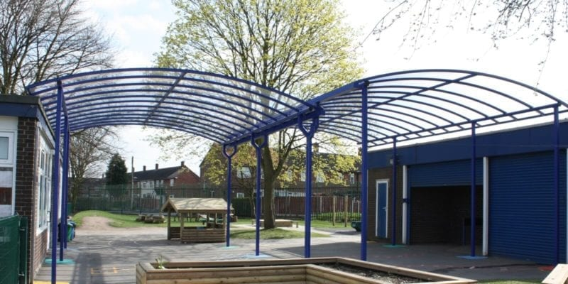 Two Curved Roof School Canopies