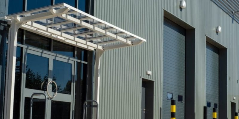 White Straight Roof Entrance Canopy