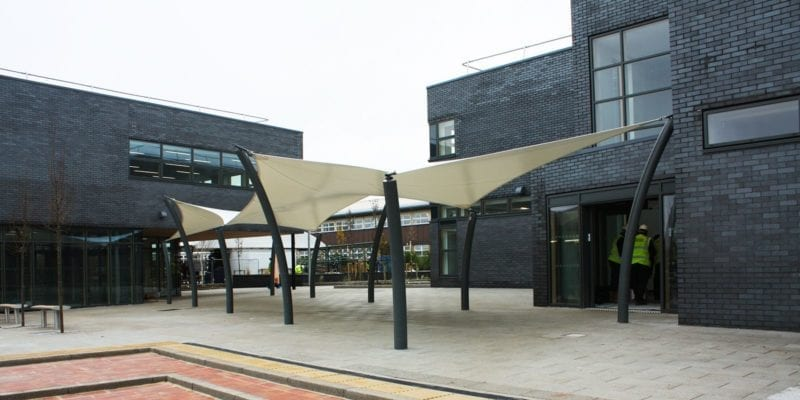 Shade sail we designed for Winstanley College