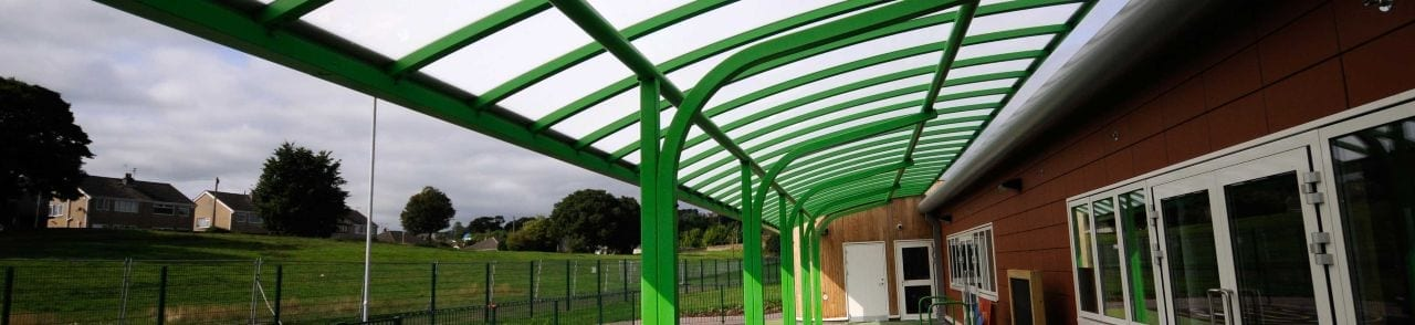 Green Cantilever Playground Canopy