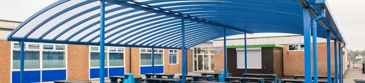 Tewkesbury School Blue Curved Roof Canopy