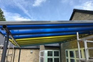 Colourful shelter we made for Ashton Keynes Primary School