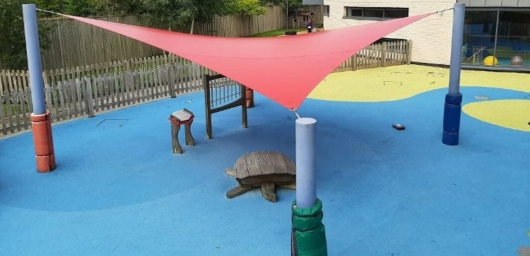 Fabric canopy we installed at Bluebell Park School