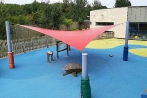 Red shade sail we made for Bluebell Park School