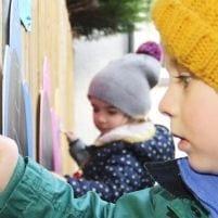 Children Creating Outdoor Artwork