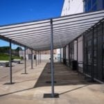 Straight roof shelter we made for Hoe Valley School