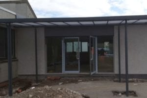 Straight roof shelter we made for Lochside Primary School