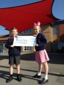 Shade sail we donated to Monksdown Primary School