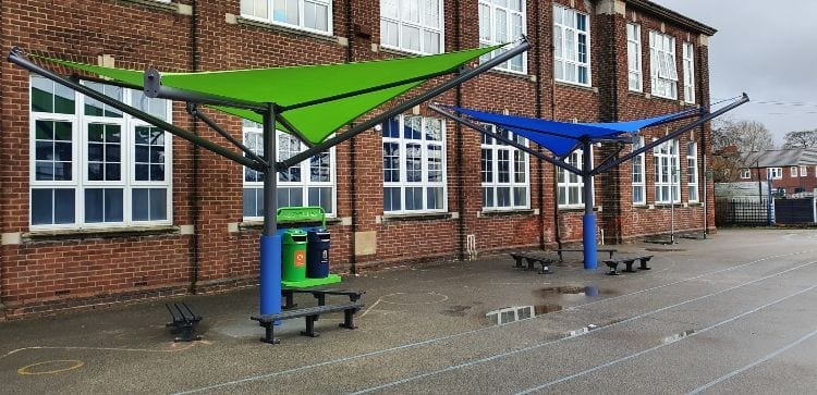 Sail shades we made for St Clares RC School