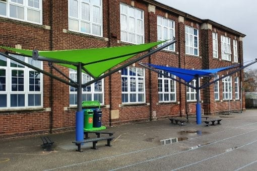 Fabric canopies we installed at St Clares RC School