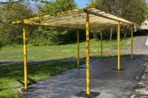 Yellow canopy we made for Sycamore School