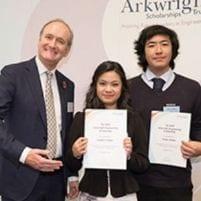 Teacher and students at award presentation