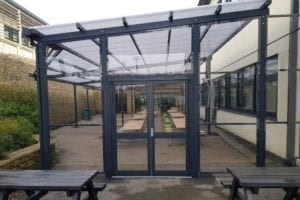 Dining shelter we fitted at Trinity Academy Halifax
