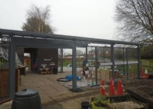 Enclosed shelter we designed for Wistaston Academy