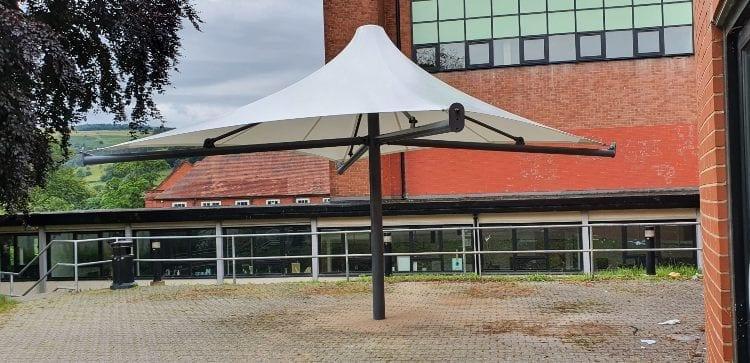 Fabric shelter we designed for Ysgol Dinas Bran