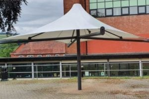 White canopy we made for Ysgol Dinas Bran