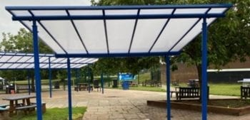 Straight roof canopies we installed at Stoke High School