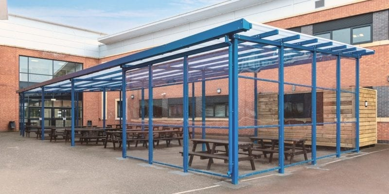 Canopy with sides we installed at Avon Valley School