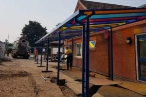 Colourful canopy we designed for Orchard Primary School