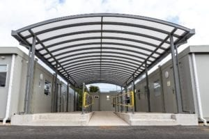 Curved roof canopy we designed for Dorset Waste Centre