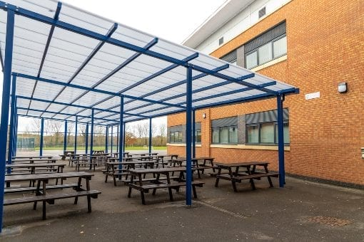 Straight roof canopy we designed for Avon Valley School