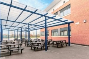 Covered seating area we added to Avon Valley School