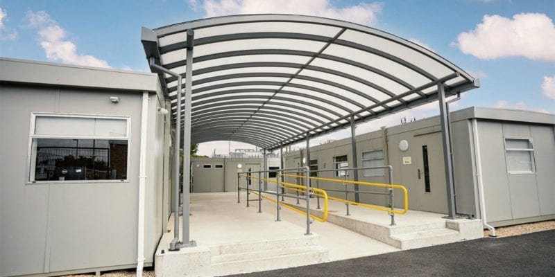 Covered walkway we added to Wareham Recycling Centre