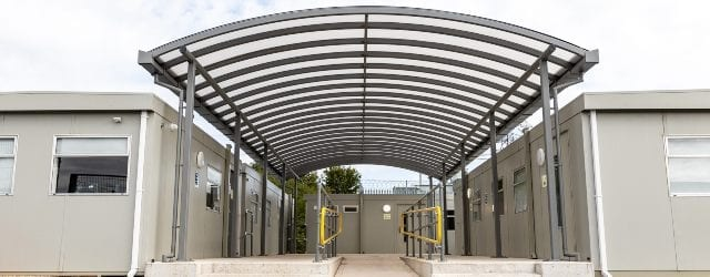 Covered walkway we designed for Dorset Waste Centre