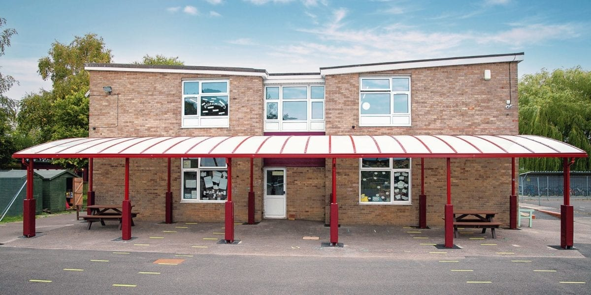 Curved roof canopy we designed for Covingham Park Primary School