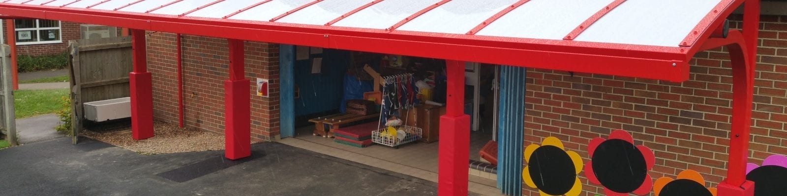 Cantilever shelter we installed at Shelton Infants School