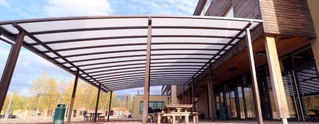 Curved roof shelter we made for Waingels College