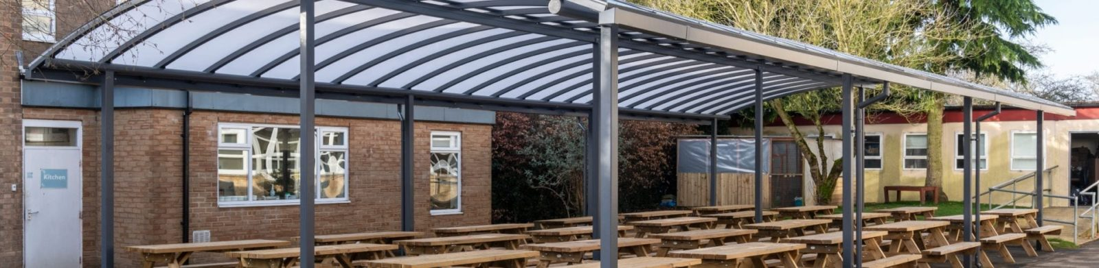 Dining area shelter we made for Cirencester College