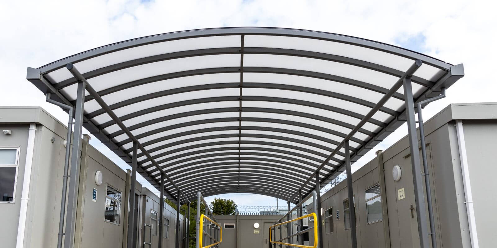 Covered walkway canopy we made for Dorset Waste Centre