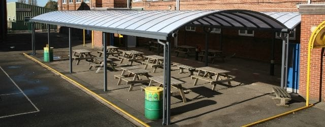 Dining area canopy we designed for Kingsbury School