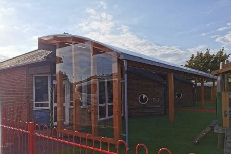Timber canopy we made for St George's Catholic Primary School