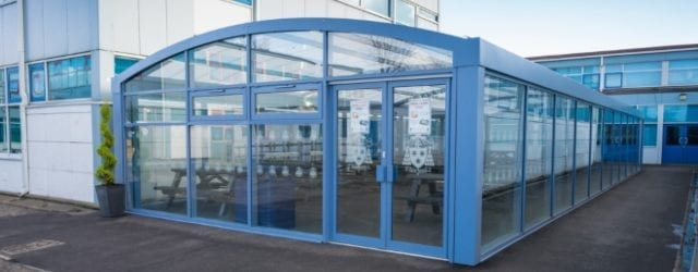Enclosed dining shelter we designed for St Wilfrid's School