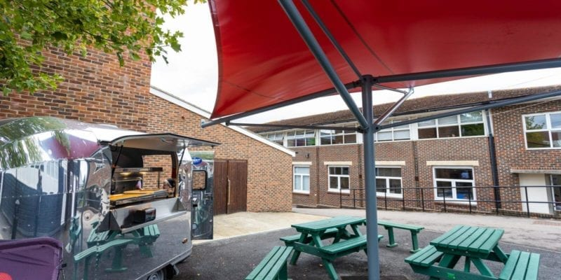 Dining area shelter we designed for Hill View School for Girls