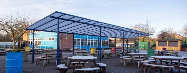 Dining area canopy we designed for Meole Brace School