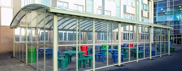 Dining canopy we designed for Our Lady's RC High School