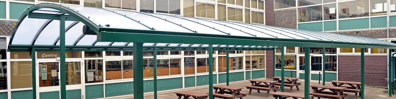 Curved roof canopy we made for Rushcliffe School